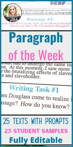 """This bundle contains 25 prompts for """"Paragraph of the Week"""" in grades 9-12. Each prompt contains a passage from a text and a prompt. The texts range from poetry to prose to non-fiction. The paragraph prompts range from persuasive to descriptive to personal narrative to literary analysis. #paragraph #writingworkshop #essay Academic Essay Writing, Paragraph Writing, Persuasive Writing, Teaching Writing, Student Teaching, Writing Activities, Writing Prompts, Close Reading Lessons, Mentor Sentences"""