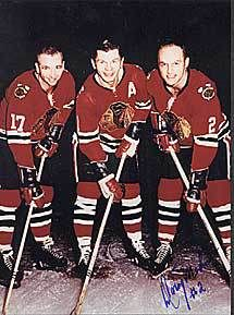 Chicago's Scooter line, made up of  Mikita, Wharram, and Doug Mohns 1965
