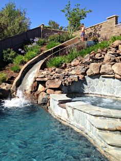 Swimming Pool Designs With Slides find this pin and more on pools Hillside Water Slide