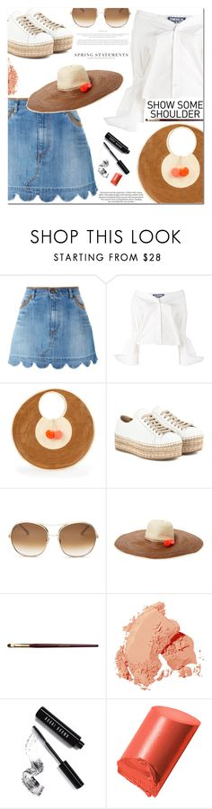 """""""Shimmy shimmy: off-shoulder tops"""" by jan31 ❤ liked on Polyvore featuring RED Valentino, Jacquemus, Sophie Anderson, Prada, Chloé, Bobbi Brown Cosmetics, TIBI, Folio, H&M and Spring"""