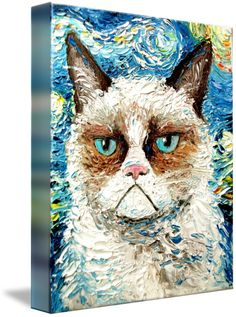 Grumpy Cat Is Still Grumpy is a painting by New York-based Aja which is fashioned after Vincent Van Gogh's Starry Night Meme Grumpy Cat, Cat Memes, Funny Memes, Vincent Van Gogh, Painting Prints, Art Prints, Wall Paintings, Watercolor Paintings, Framed Prints