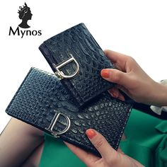 MYNOS Designer Brand Short And Long Alligator Women Wallets Purses Small Leather Wallets Female Ladies Purses Carteras Portfolio