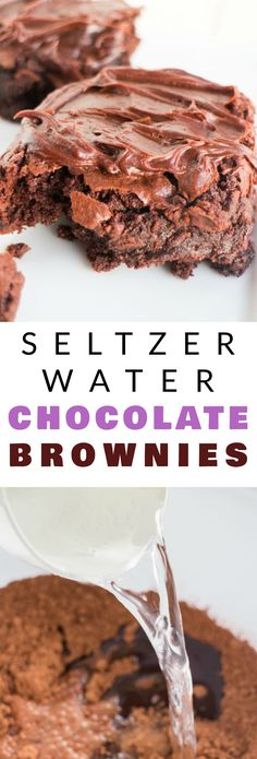 FUDGY Chocolate Brownies made with SELTZER water! Easy Homemade Double Chocolate Brownies recipe that uses seltzer water to make the brownies extra fluffy and moist! These gooey brownies are made from scratch and have a amazing chocolate frosting on top!