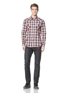 75% OFF Simon Hart Men\'s Joe Plaid Shirt (Red)