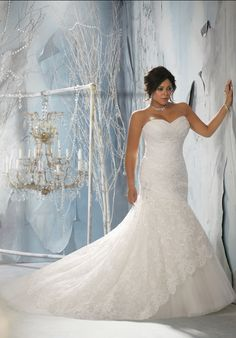 Strapless fit and flare lace plus size wedding gown // 3143, Julietta by Madeline Gardner gorgeous dress. In my size though
