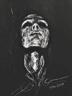 Art Drawing Paint Portrait Girl Face Contrast Black