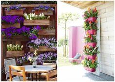 Deko für kleine Gärten - Blumenkasten vertikal anbringen