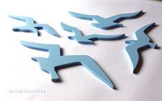 Mewy błękitne - komplet - gufopracownia - Ozdoby na ścianę