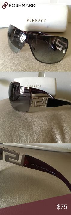 100% Authentic Versace Swarovski Shield Sunglasses Versace 2072B 10258G Sunglasses (size 138mm): Black  High quality 100% authentic Versace designer sunglasses! Used condition, scratches on lenses and slightly noticeable on bands.  Versace 2072B/S 10258G Sunglasses in size 138 mm : Women's, Light pink metal frame, wrap shaped. Swarovski Versace logo on temples.  The sunglasses come with an original Versace carrying case (used heavily and slightly smashed).                           Made In…