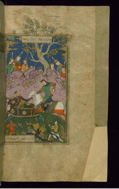 Zangah Kills Javarjasp with a Spear -  Shahama (Walters manuscript) Firdawsi (Persian, died 411-416 AH/AD 1020-1025) (Author) Muhammad Mirak ibn Mir Muhammad al-Husayni al-Ustadi (Scribe) Herat (?), 1028 AH/AD 1618-1619 ink and pigments on laid paper ACCESSION NUMBER W.602.281B MEASUREMENTS H: 14 3/8 x W: 9 1/4 in. (36.5 x 23.5 cm) The Walters Museum