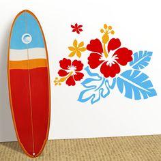 Llena tu casa de energía surfera con este vinilo decorativo de flores y estética surf.  Las olas, los amigos, las tardes en la arena y tu tabla. Un diseño surfero en vinilo decorativo de alta calidad. DISFRÚTALO EN NUESTRA WEB: http://dolcevinilo.es/vinilo-floral-surfero