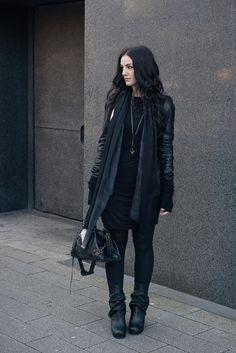 Fashion blogger Stephanie of FAIIINT wearing Rick Owens leather jacket & peaked back wedge boots, Black.co.uk ombre fade cashmere scarf & cashmere knit wrist warmer gloves, H&M dress, Hvnter Gvtherer necklace, Balenciaga city bag. All black everything dark street style winter outfit.