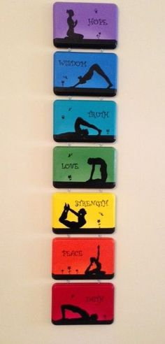 nice Seven beautiful interconnected hand-painted plaques is perfect for the home or yoga studio