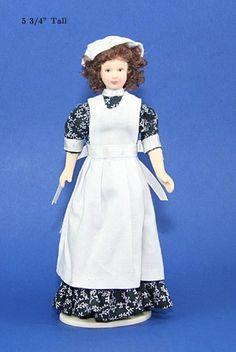 poseable porcelain maid/nanny doll Manor House Miniatures