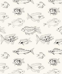 Eva Bellanger - fishes, textile pattern , sketch , https://www.facebook.com/evabellangertextiles