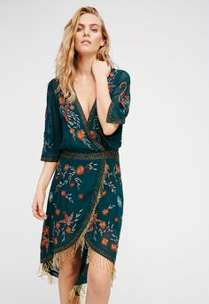 Free People - With beautiful embroidery detailing that is embellished with amazing bead work this high low midi dress features a surplice neckline with a hidden snap closure. Sheer three-quarter length sleeves with statement bead fringe trim. Lined. Boho Dress, Dress Skirt, Dress Up, Bohemian Dresses, Midi Dress With Sleeves, Green Fashion, Boho Fashion, Womens Fashion, Rare Fashion