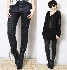 Chic Rock Runway Armor Corset Laceup Vegan Faux Leather Pleather Pants Men Women #RefusetobeUsual