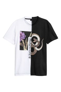 ec19a229945 T-shirt met print - Wit zwart - HEREN
