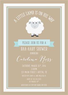 baby boy shower lamb invitation