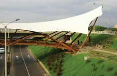 Unusual bamboo and fabric structure offers design advantages - Fabric Architecture Timber Architecture, Sustainable Architecture, Beautiful Architecture, Contemporary Architecture, Architecture Details, Landscape Architecture, Membrane Structure, Bamboo Structure, Timber Structure
