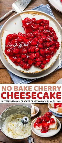 No-Bake Cherry Cheesecake is silky, rich, and creamy with a sweet cherry pie filling topping and buttery graham cracker crust. No Bake Cherry Cheesecake, Cheesecake Crust, Blueberry Cheesecake, Cheesecake Recipes, Graham Cracker Crust, Graham Crackers, Delicious Dinner Recipes, Yummy Food, Tasty