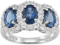 Barehipani Topaz Oval And White Topaz Round 4.30ctw Sterling Silver Ring