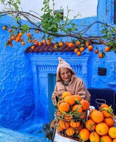 Another favourite picture of Chefchaouen! The juice shop owner. He is a huge celebrity due to his colourful shop with or. Visit Morocco, Morocco Travel, Blue City Morocco, Nature Quotes Adventure, Pearl City, Cool Countries, Moorish, Beautiful Images, World Cultures
