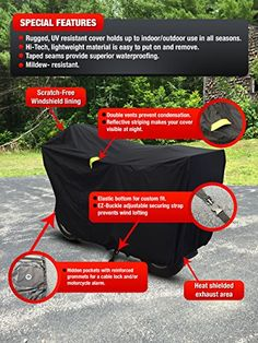 Badass Moto Gear All Wx Motorcycle Cover – Night Reflective Safety Stripes – Waterproof – Heat Shields – Windshield Liner – Vents – Motorcycle Lock Pocket – Fits Large Cruisers & Touring Bikes. LARGE High Quality all Season Outdoor Indooor Cover. WaterProof with Taped Seams. Mildew resistant. High Quality all Season Outdoor Indooor Cover. WaterProof with Taped Seams. Mildew resistant. Night reflective safety striping Keeps your bike visible in the dark. High Quality all Season Out..