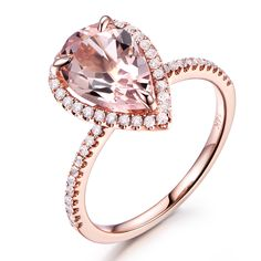 10x12mm Pear Cut 3.5ct Big Pink Morganite Stone Halo Diamond Bridal Ring Engagement Wedding Band Solid 14k Rose Gold Art Deco #Affiliate