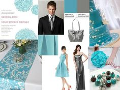 Aquamarine and Charcoal Gray : PANTONE WEDDING Styleboard : The Dessy Group