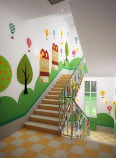 School Wall Decoration, School Door Decorations, Stair Art, Stair Decor, Classroom Walls, Classroom Decor, Infant Room Daycare, Kindergarten Interior, Kids Backyard Playground