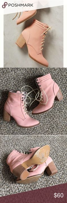 Pilcro pink lace up booties Undoubtedly these booties are very cute and a nice blush/salmon color. They do you have some flaws which I tried to clearly represent in the pictures. I was sold these as excellent condition and never ended up wearing them. They were definitely not in excellent condition but the damage really isn't too noticeable when you are wearing them Anthropologie Shoes Ankle Boots & Booties