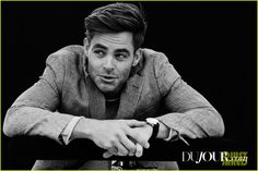 Chris Pine Talks About His 'Star Trek' Family with 'DuJour': Photo #3567724. Chris Pine looks as sexy as ever in this new photo feature from DuJour magazine.    Here's what the 35-year-old The Finest Hours actor had to share:     On doing…