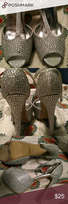 Heels Sparkly silver high heel, only used once Shoes Heels