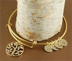Gold Tree of Life Bange Bracelet with Initials - Alex and Ani Inspired www.anniereh.com
