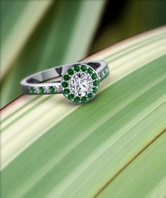 I Love Jewelry Affordable Round Halo Diamond Ring in White Gold - Shop cathedral pave halo diamond engagement ring with emerald in white gold at Fascinating Diamonds. This diamond engagement ring is designed in Pave setting I Love Jewelry, Art Deco Jewelry, Jewelry Rings, Jewelry Box, Jewelery, Vintage Jewelry, Jewelry Accessories, Jewelry Design, Unique Jewelry