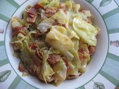 This is how I got my children to like cabbage. It is a simple recipe. It came from an old magazine clipping, do not remember which one. We usually have cornbread on the side with rice and sausage. Fried Cabbage Recipes, Bacon Fried Cabbage, Cooked Cabbage, Braised Cabbage, Cabbage Rolls, Vegetable Side Dishes, Vegetable Recipes, Veggie Side, Southern Recipes