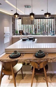dropped live edge eating counter kitchen design in 2019 rh pinterest com