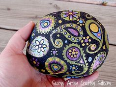 Hand painted Stone paisley by SuzysSitcomStore on Etsy
