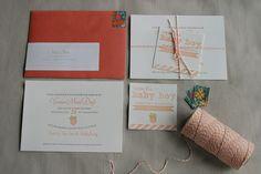 Peach Themed Baby Shower Letterpress Invitation