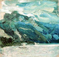 Richard Gerstl, Lake Traunsee with the Schlafende Griechin mountain on ArtStack #richard-gerstl #art