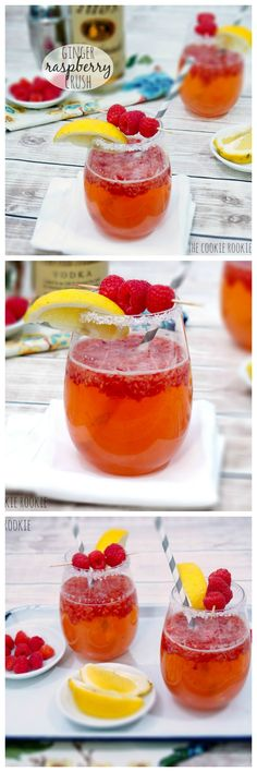 Ginger Raspberry Crush Cocktail, favorite easy cocktail or Spring!! <3 {The Cookie Rookie}