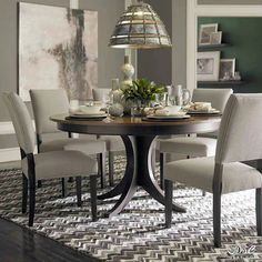 Dining Chairs like this -- upholstered & comfy - with simple leg