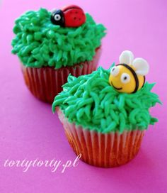 Cupcakes for kids. Sweet bee and little ladybug.