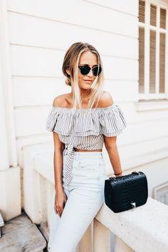 Off the shoulder + stripes.