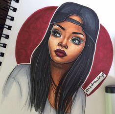 ⚓️ / Please tag her Black Girl Art, Black Women Art, Black Art, Art Girl, Pretty Drawings, Beautiful Drawings, Art Pictures, Photos, African American Art