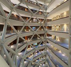 Inner atrium of Hyatt Capital Gate hotel in Abu Dhabi