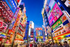 The Akihabara district of Tokyo, Japan. Akihabara is known as the big technology center of Japan, with numerous electronics and video game stores...one of the most famous being the huge Super Potato Retro Kan.