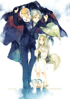 Natsume Yuujinchou ~~ Enjoying a rainy day with the Fox Child :: Natsume & Nyanko-sensei