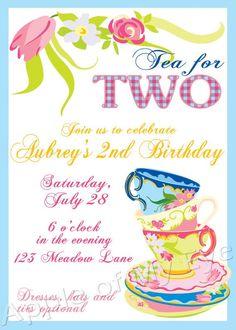 Items Similar To Tea Party Birthday Digital Invitation On Etsy